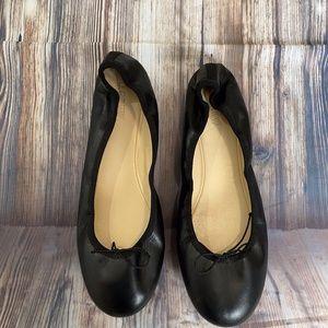 J.Crew Black Leather Ballet Flats Sz 10